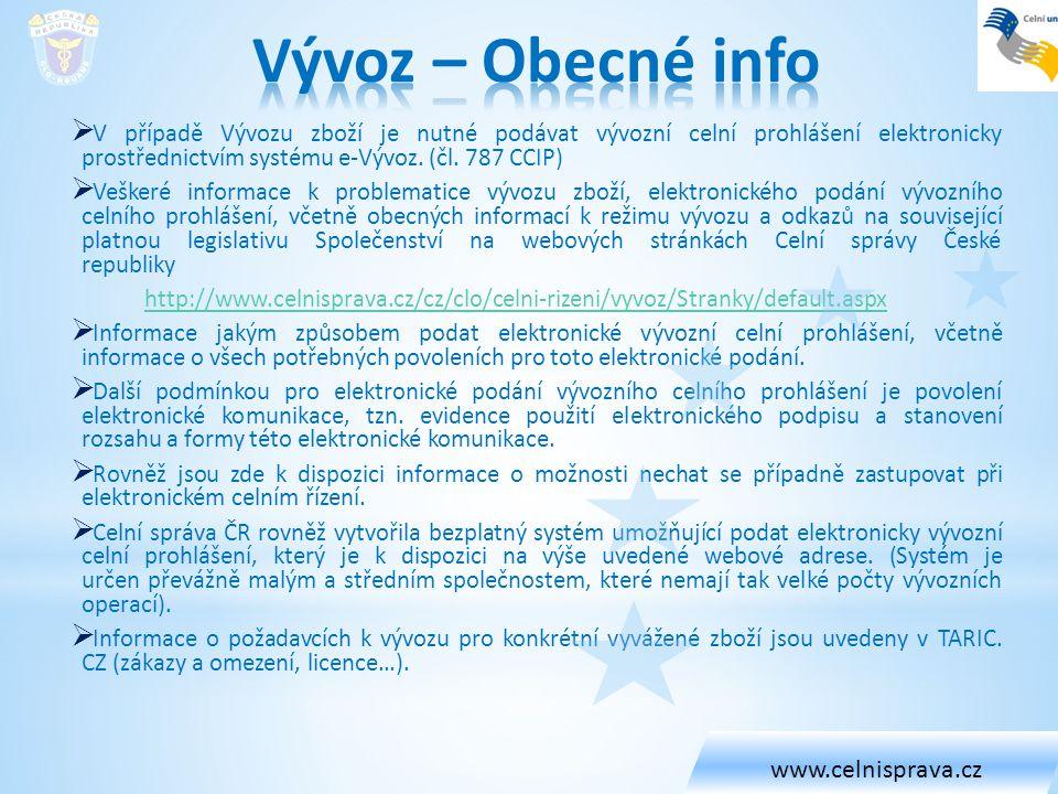 Vývoz – Obecné info www.celnisprava.cz