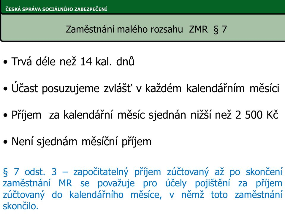 Zaměstnání malého rozsahu ZMR § 7