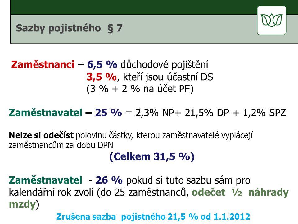 Zrušena sazba pojistného 21,5 % od 1.1.2012