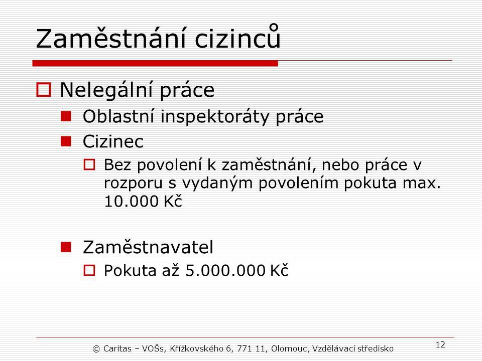 Zaměstnání cizinců Nelegální práce Oblastní inspektoráty práce Cizinec