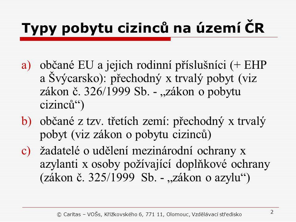 Typy pobytu cizinců na území ČR