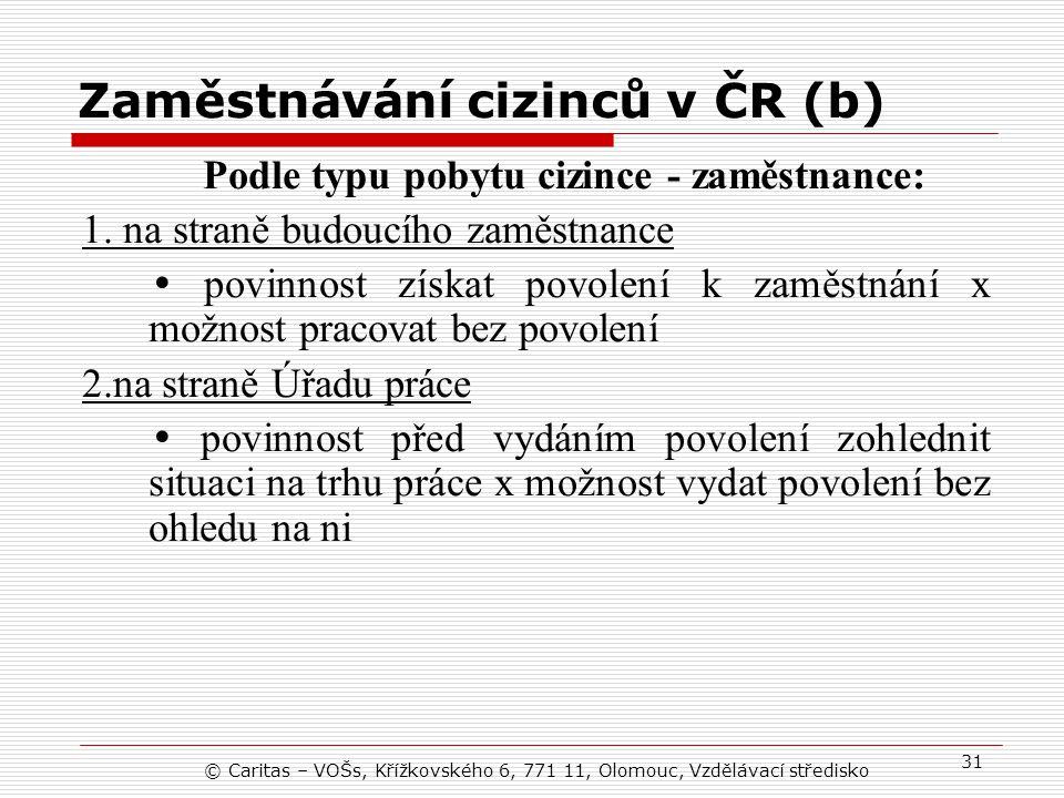 Zaměstnávání cizinců v ČR (b)
