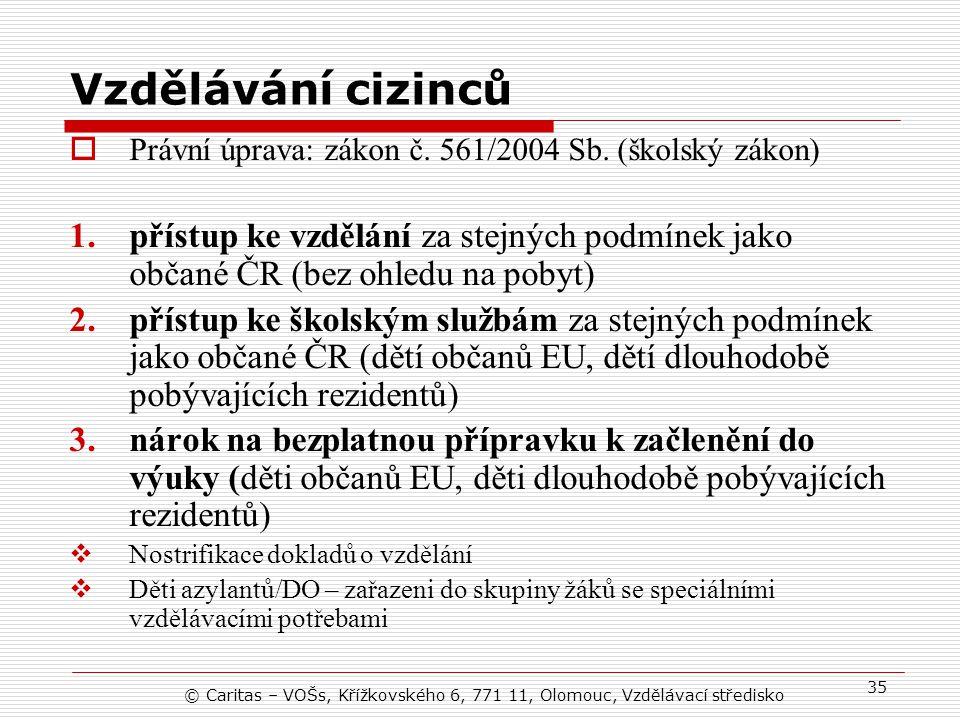 Vzdělávání cizinců Právní úprava: zákon č. 561/2004 Sb. (školský zákon)