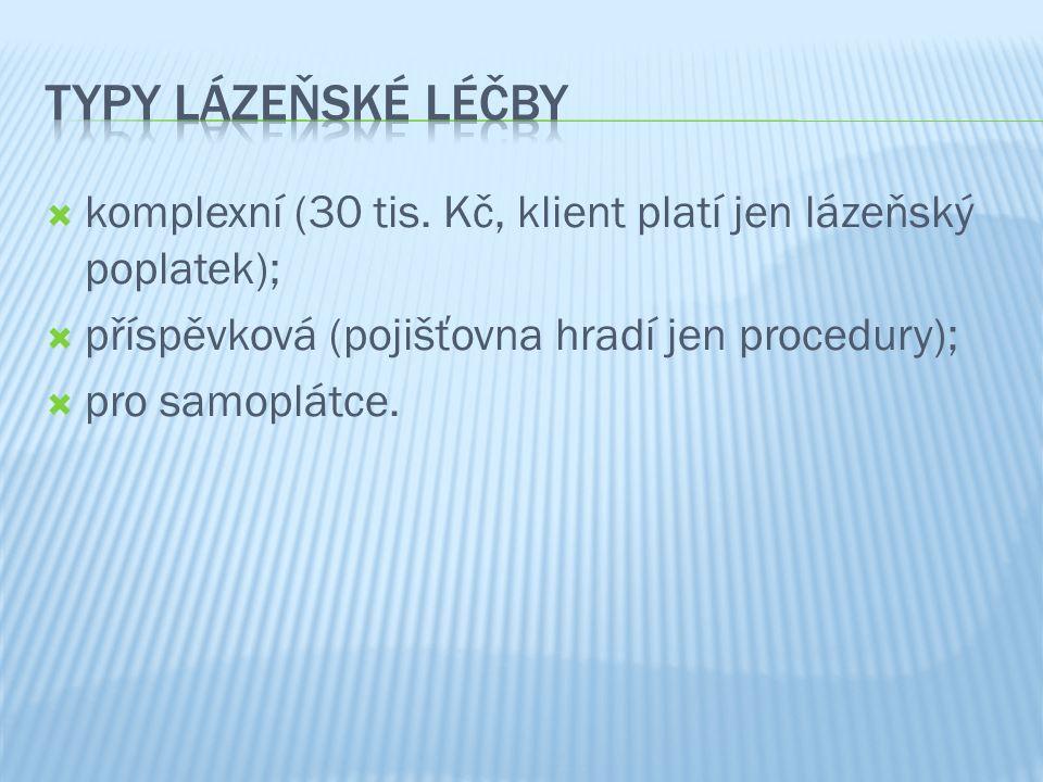 Typy lázeňské léčby komplexní (30 tis. Kč, klient platí jen lázeňský poplatek); příspěvková (pojišťovna hradí jen procedury);