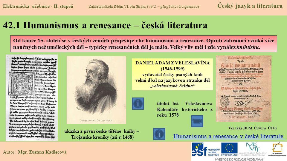 42.1 Humanismus a renesance – česká literatura