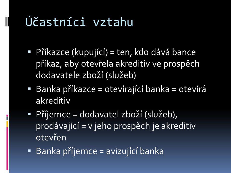 Účastníci vztahu Příkazce (kupující) = ten, kdo dává bance příkaz, aby otevřela akreditiv ve prospěch dodavatele zboží (služeb)