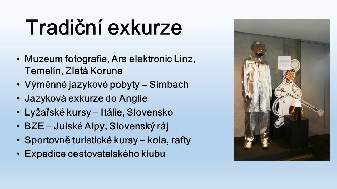 Tradiční exkurze Muzeum fotografie, Ars elektronic Linz, Temelín, Zlatá Koruna. Výměnné jazykové pobyty – Simbach.