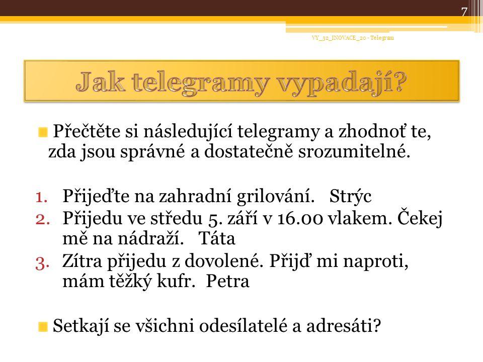 Jak telegramy vypadají