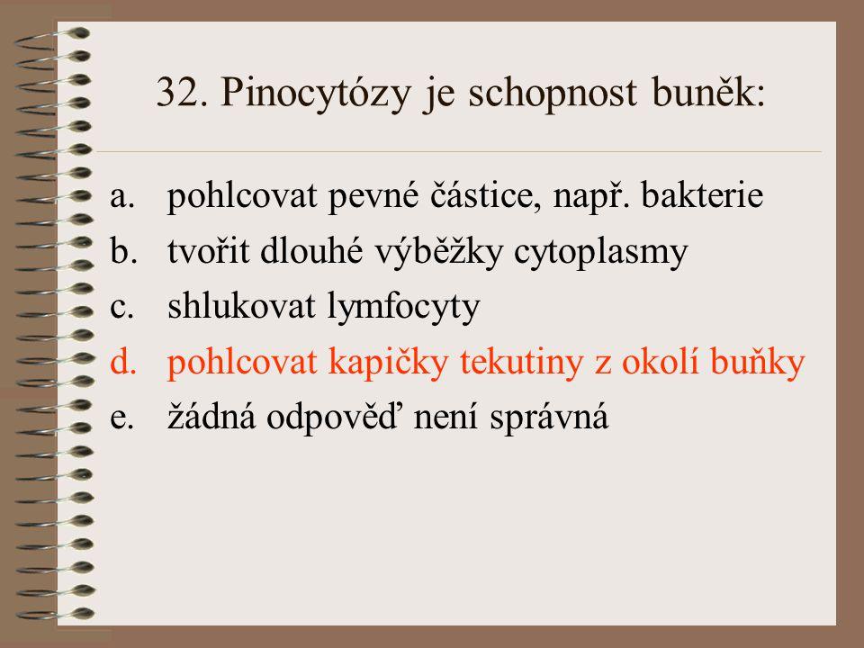 32. Pinocytózy je schopnost buněk: