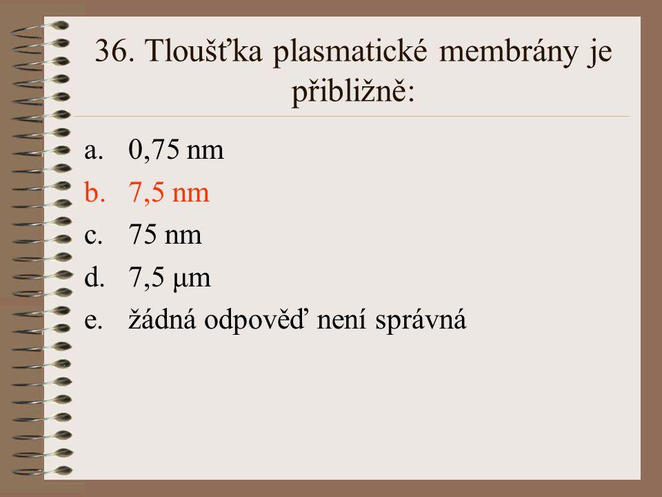 36. Tloušťka plasmatické membrány je přibližně: