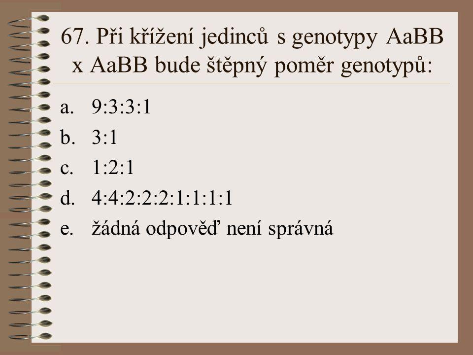 67. Při křížení jedinců s genotypy AaBB x AaBB bude štěpný poměr genotypů: