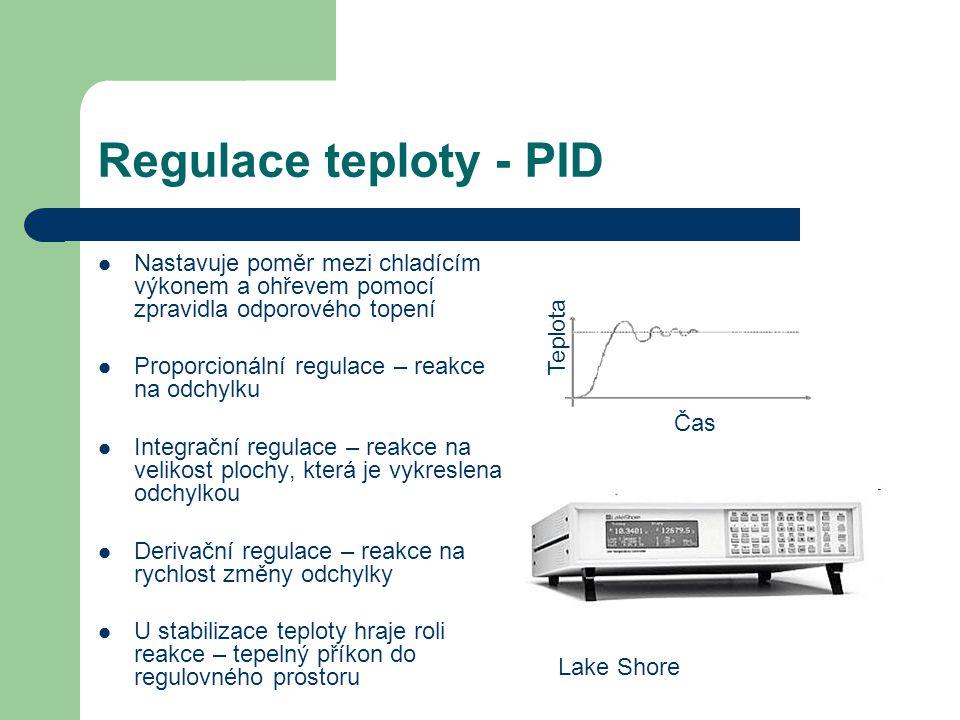 Regulace teploty - PID Nastavuje poměr mezi chladícím výkonem a ohřevem pomocí zpravidla odporového topení.