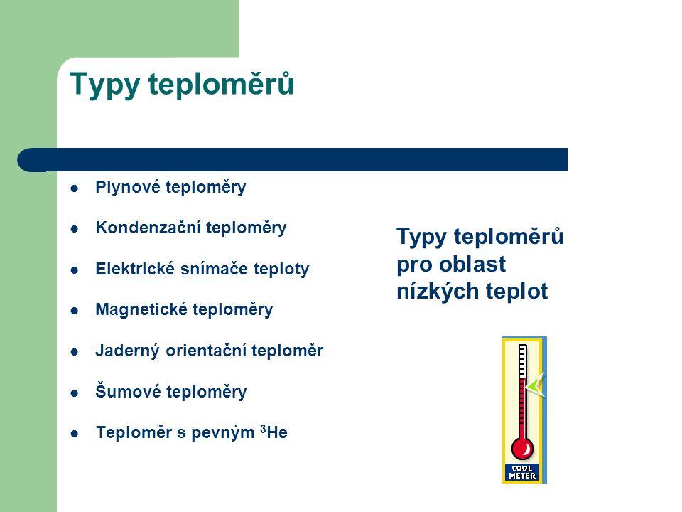 Typy teploměrů Typy teploměrů pro oblast nízkých teplot