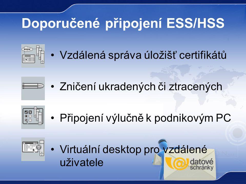 Doporučené připojení ESS/HSS