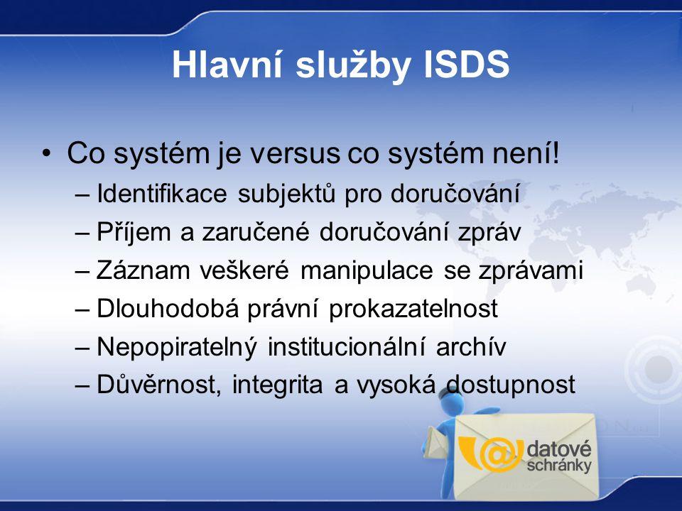 Hlavní služby ISDS Co systém je versus co systém není!