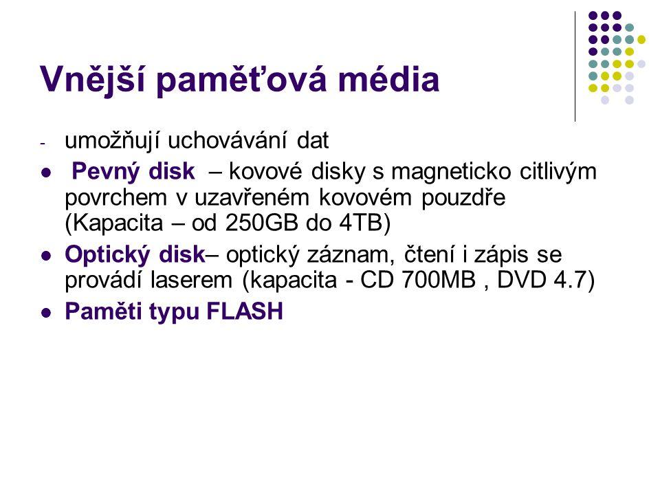 Vnější paměťová média umožňují uchovávání dat