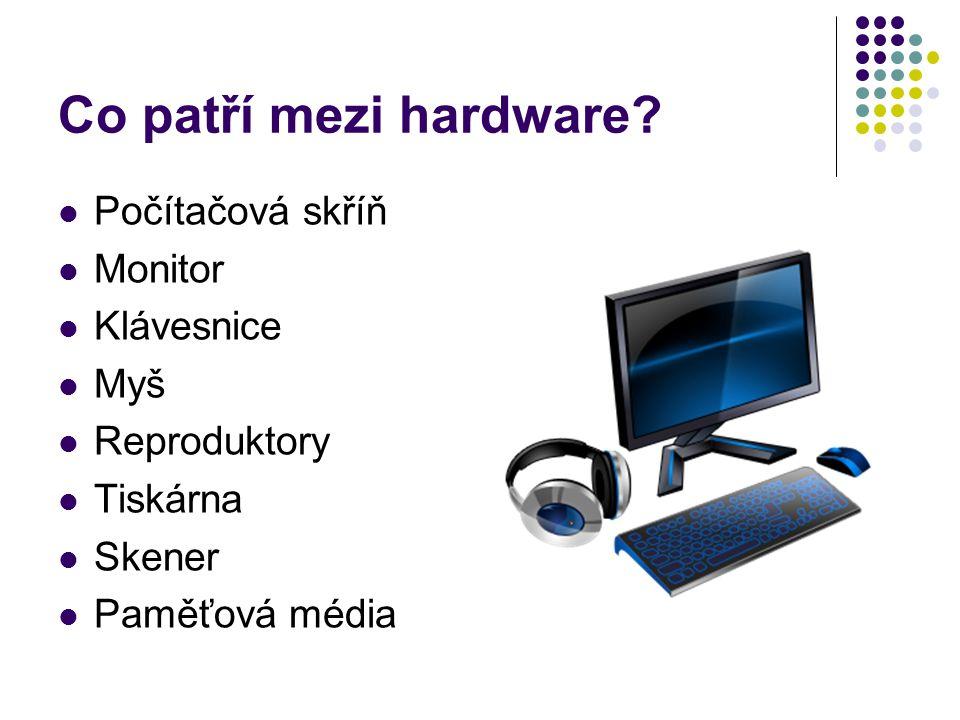 Co patří mezi hardware Počítačová skříň Monitor Klávesnice Myš