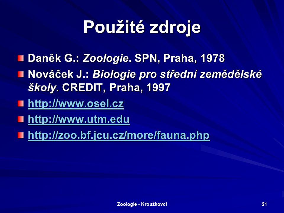 Použité zdroje Daněk G.: Zoologie. SPN, Praha, 1978