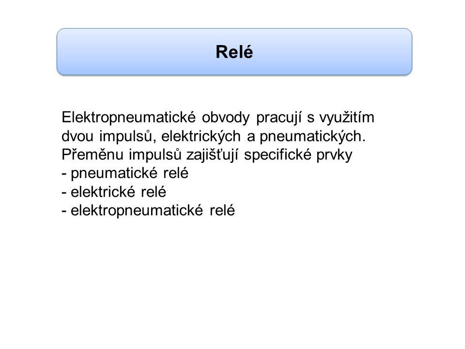 Relé Elektropneumatické obvody pracují s využitím dvou impulsů, elektrických a pneumatických. Přeměnu impulsů zajišťují specifické prvky.