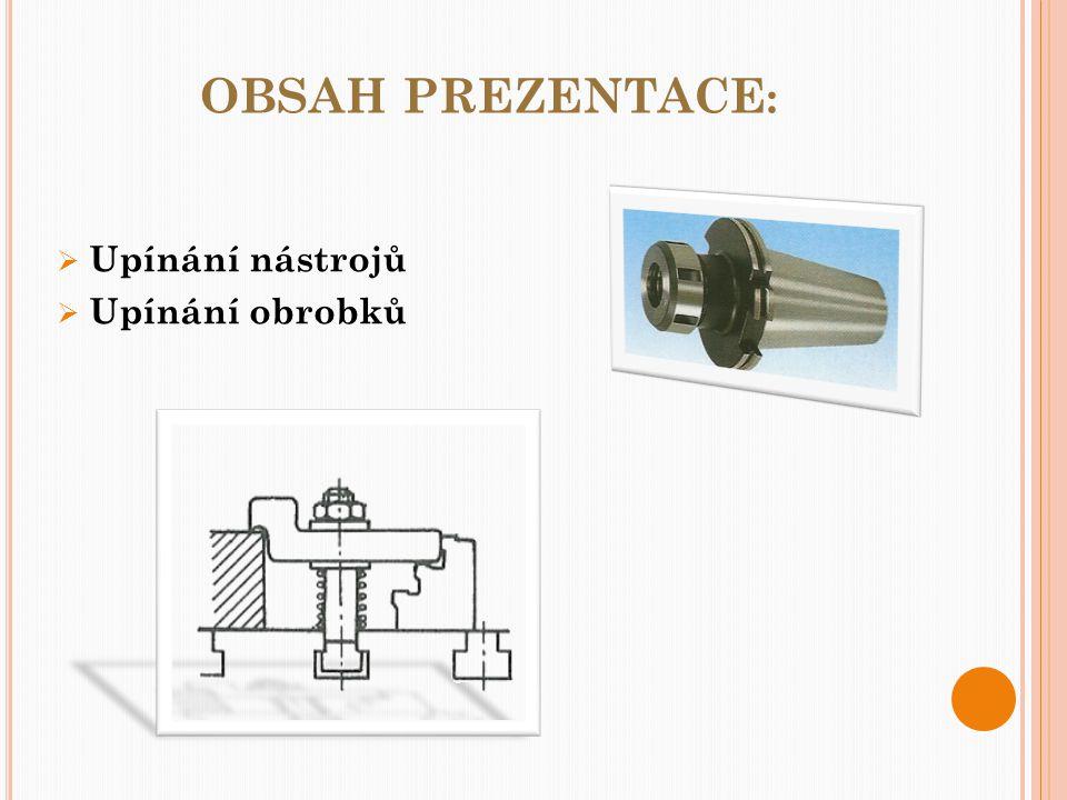 obsah prezentace: Upínání nástrojů Upínání obrobků