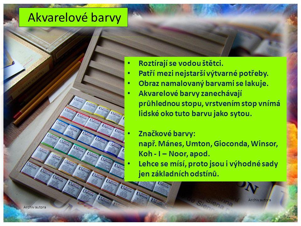 Akvarelové barvy Barvy (práškové pigmenty s pojivem) jsou lisované