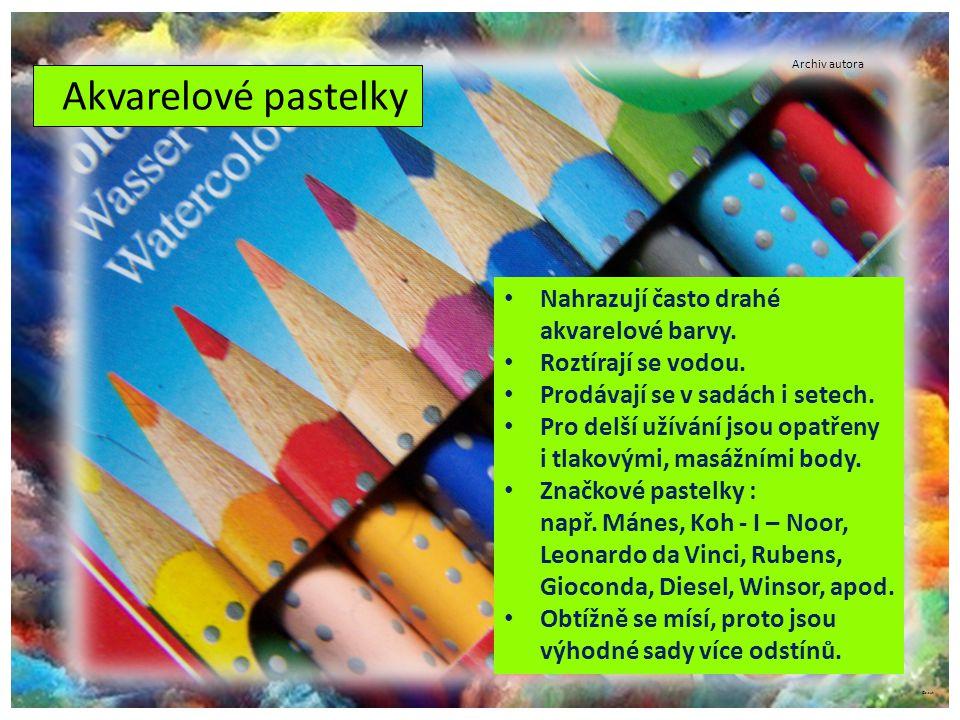 Akvarelové pastelky Nahrazují často drahé akvarelové barvy.