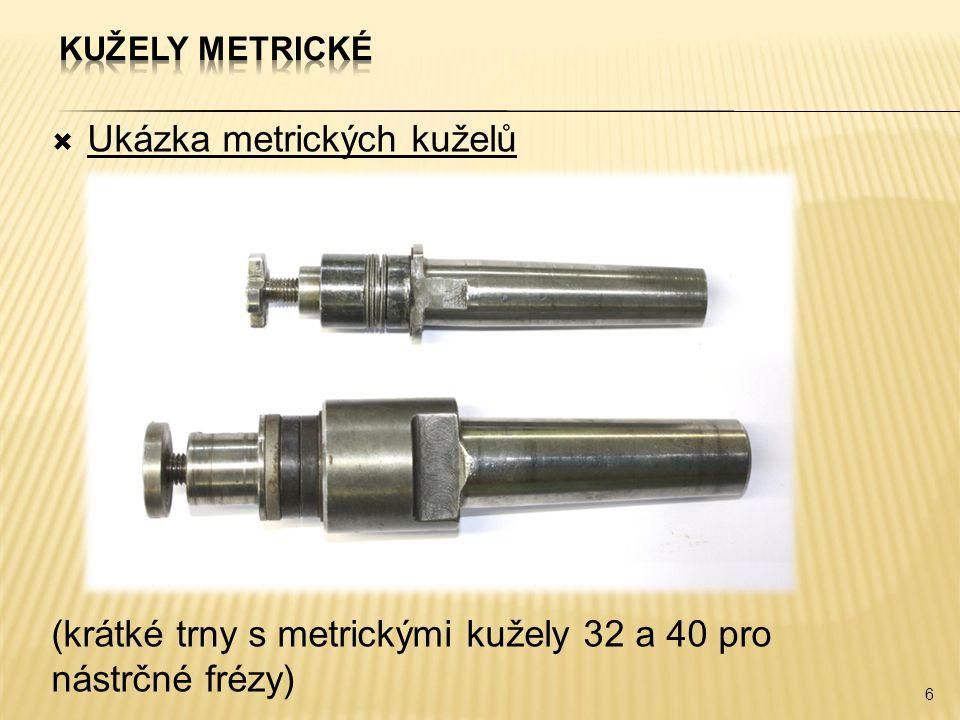 Ukázka metrických kuželů