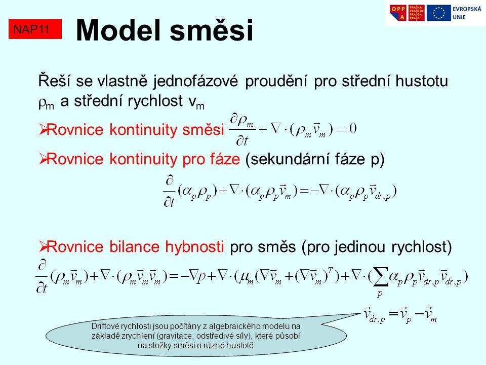 Model směsi NAP11. Řeší se vlastně jednofázové proudění pro střední hustotu m a střední rychlost vm.