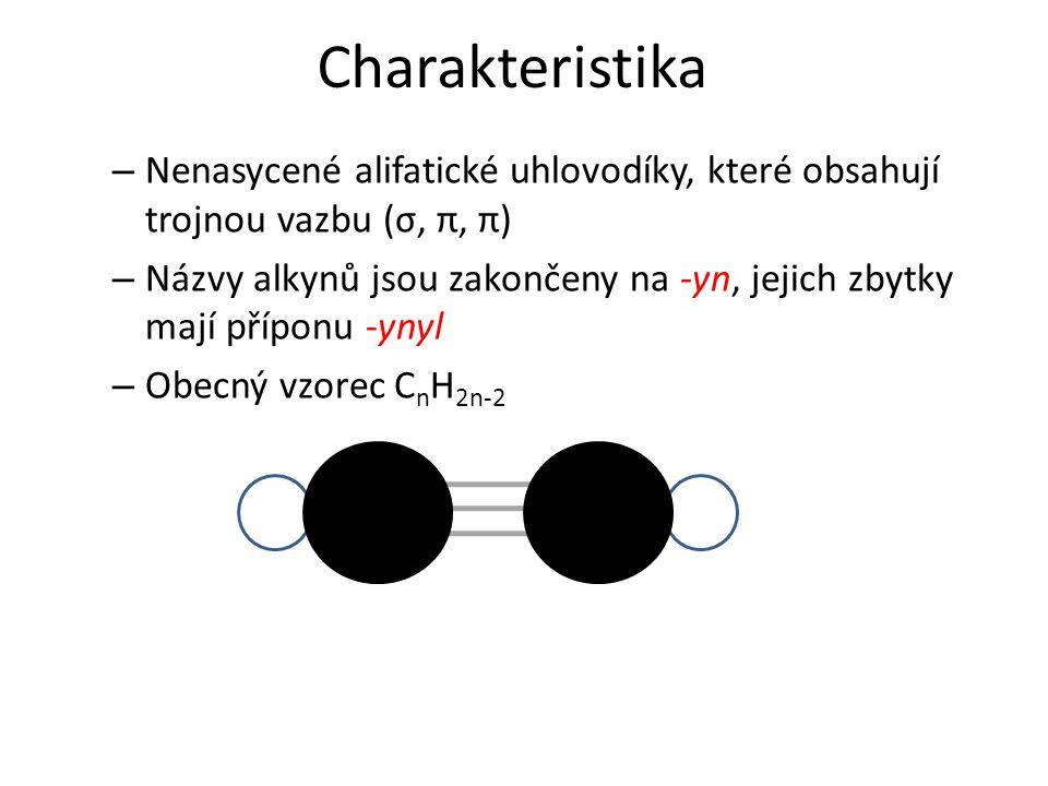 Charakteristika Nenasycené alifatické uhlovodíky, které obsahují trojnou vazbu (σ, π, π)