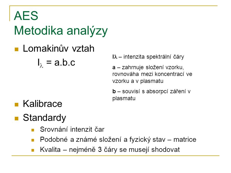 AES Metodika analýzy Lomakinův vztah Il = a.b.c Kalibrace Standardy