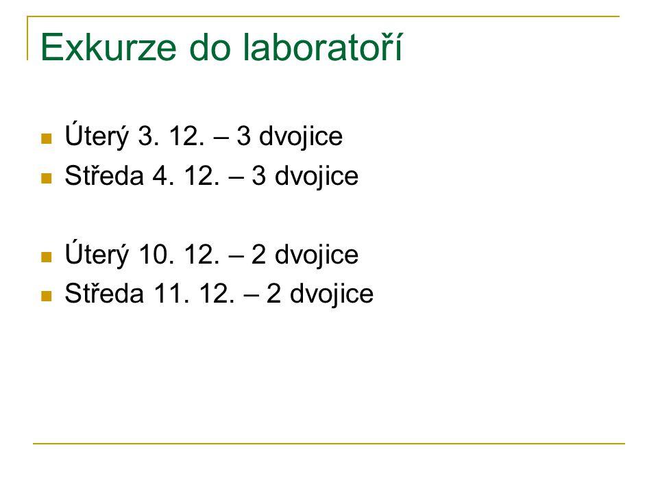 Exkurze do laboratoří Úterý 3. 12. – 3 dvojice