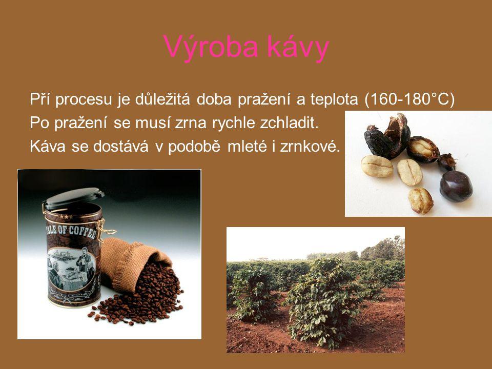 Výroba kávy Pří procesu je důležitá doba pražení a teplota (160-180°C)
