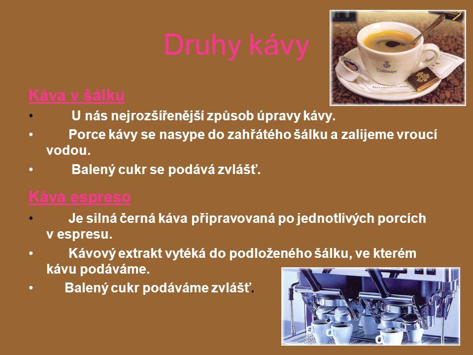 Druhy kávy Káva v šálku Káva espreso