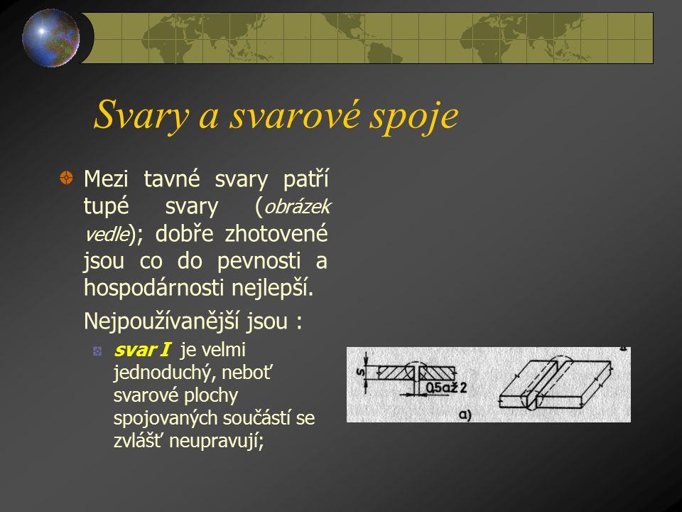 Svary a svarové spoje Mezi tavné svary patří tupé svary (obrázek vedle); dobře zhotovené jsou co do pevnosti a hospodárnosti nejlepší.