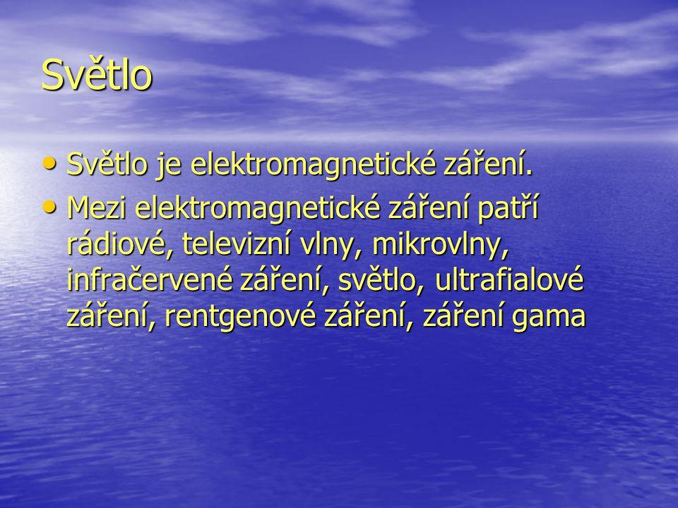 Světlo Světlo je elektromagnetické záření.