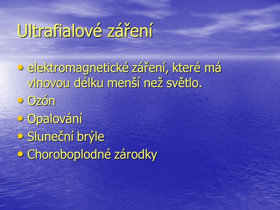 Ultrafialové záření elektromagnetické záření, které má vlnovou délku menší než světlo. Ozón. Opalování.