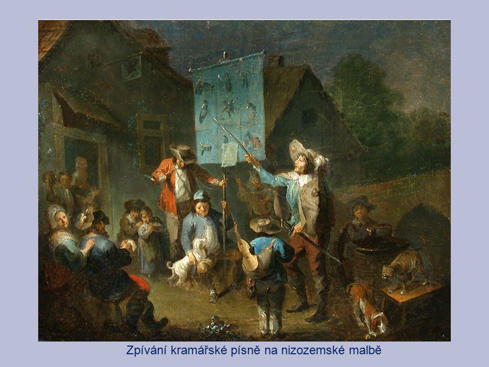 Zpívání kramářské písně na nizozemské malbě