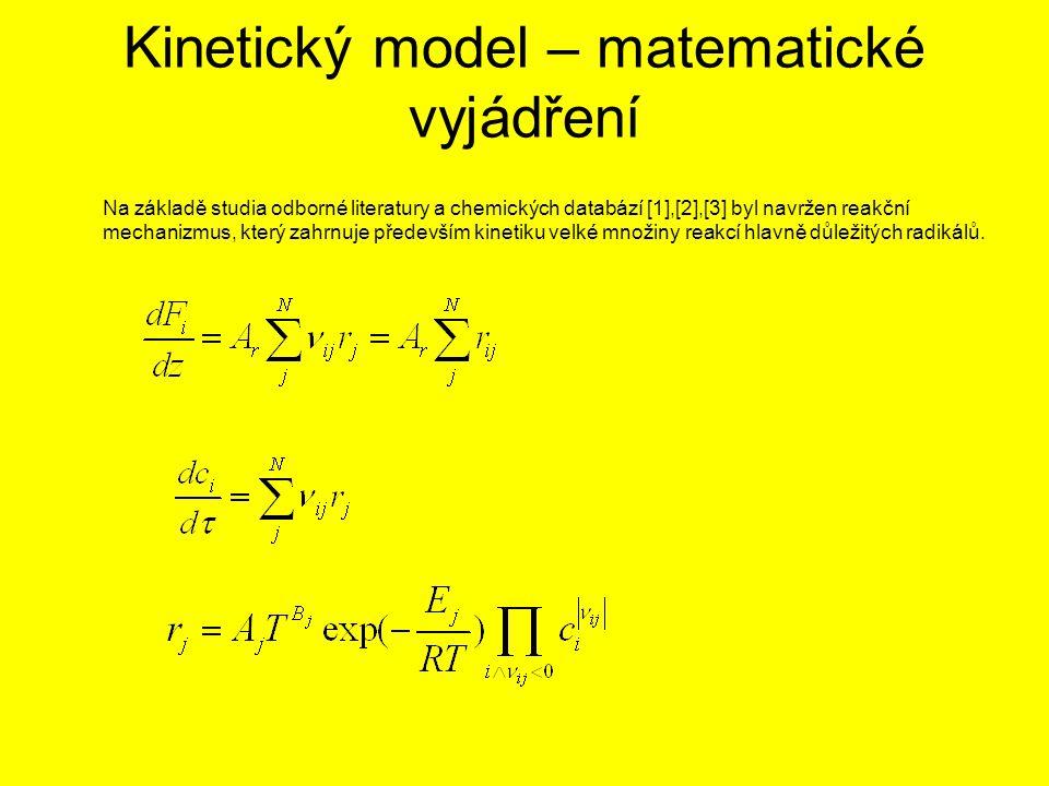 Kinetický model – matematické vyjádření