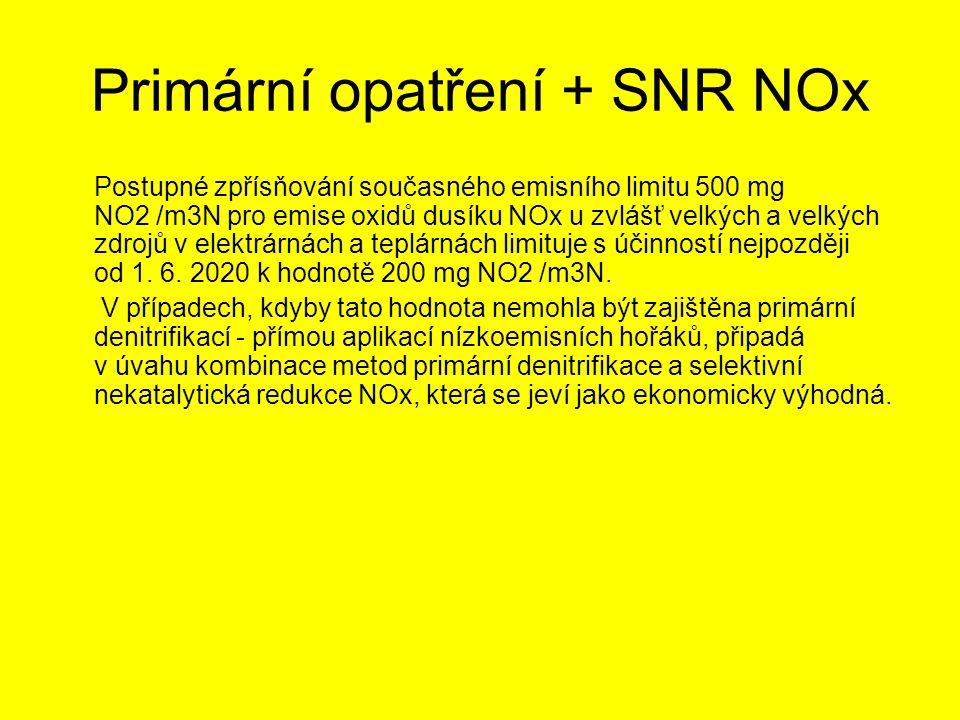 Primární opatření + SNR NOx