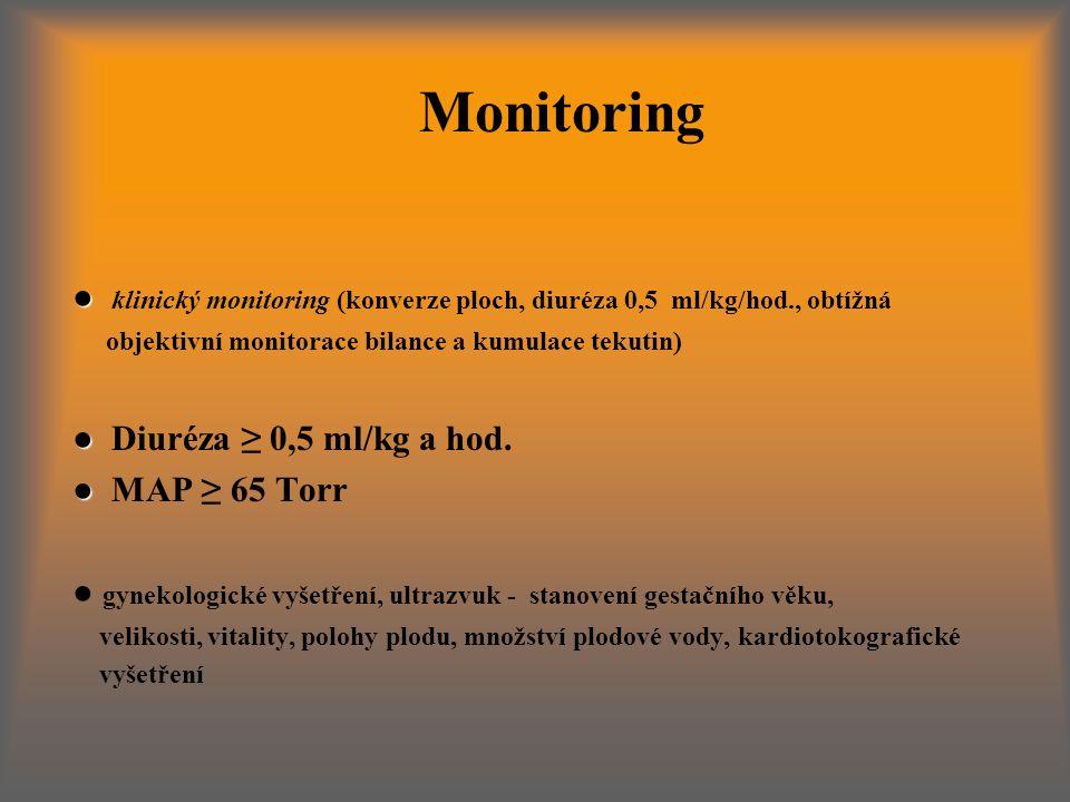 Monitoring ● klinický monitoring (konverze ploch, diuréza 0,5 ml/kg/hod., obtížná. objektivní monitorace bilance a kumulace tekutin)