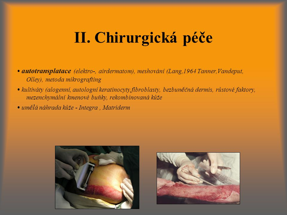 II. Chirurgická péče • autotransplatace (elektro-, airdermatom), meshování (Lang,1964 Tanner,Vandeput, Olley), metoda mikrografting.