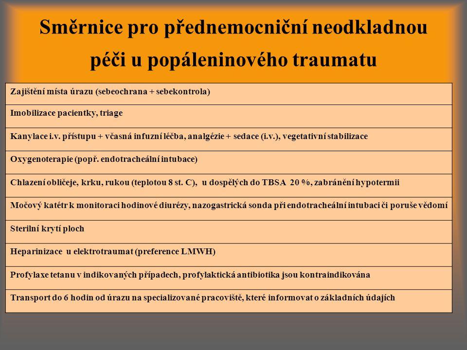 Směrnice pro přednemocniční neodkladnou péči u popáleninového traumatu