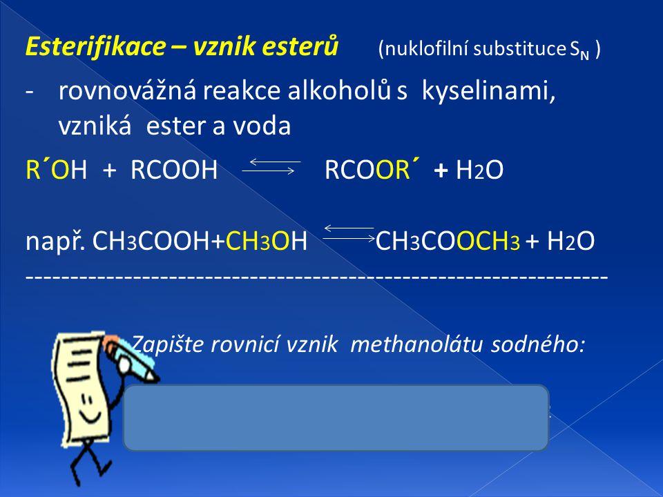 Esterifikace – vznik esterů (nuklofilní substituce SN )