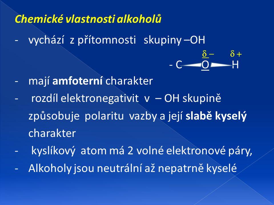 Chemické vlastnosti alkoholů