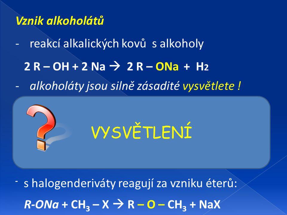 VYSVĚTLENÍ Vznik alkoholátů reakcí alkalických kovů s alkoholy
