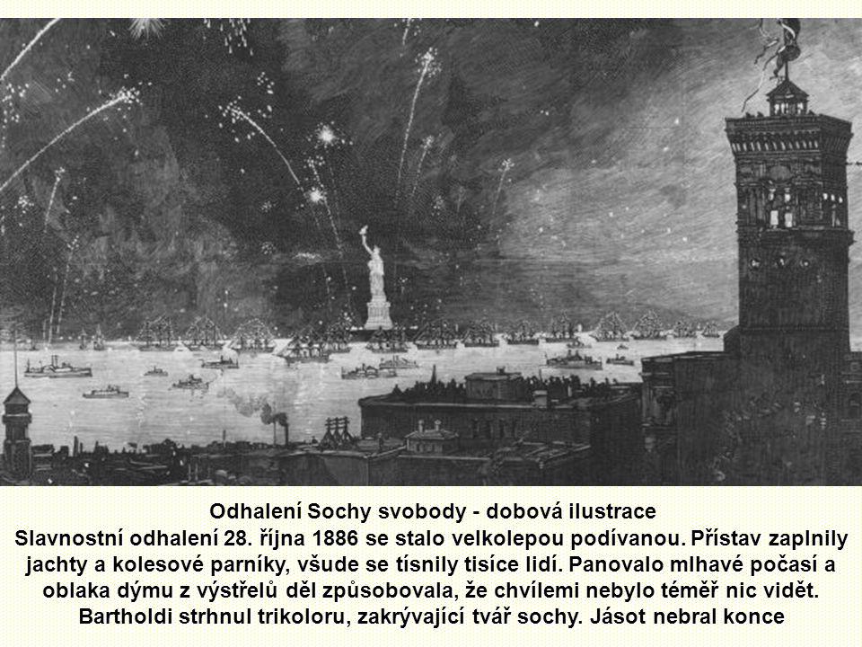 Odhalení Sochy svobody - dobová ilustrace