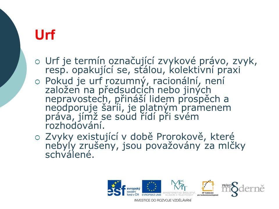 Urf Urf je termín označující zvykové právo, zvyk, resp. opakující se, stálou, kolektivní praxi.
