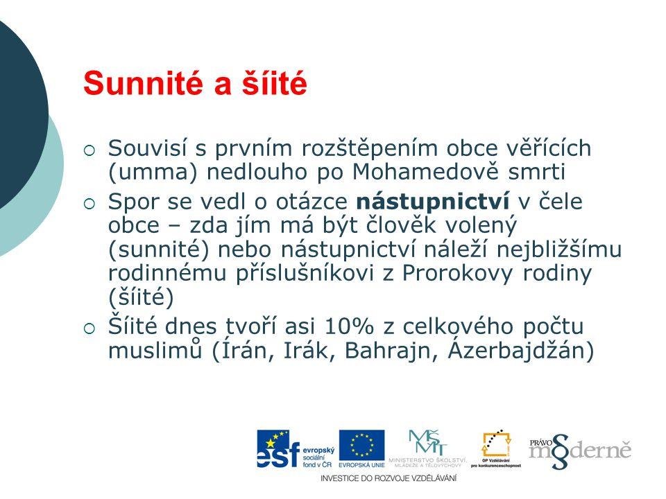 Sunnité a šíité Souvisí s prvním rozštěpením obce věřících (umma) nedlouho po Mohamedově smrti.