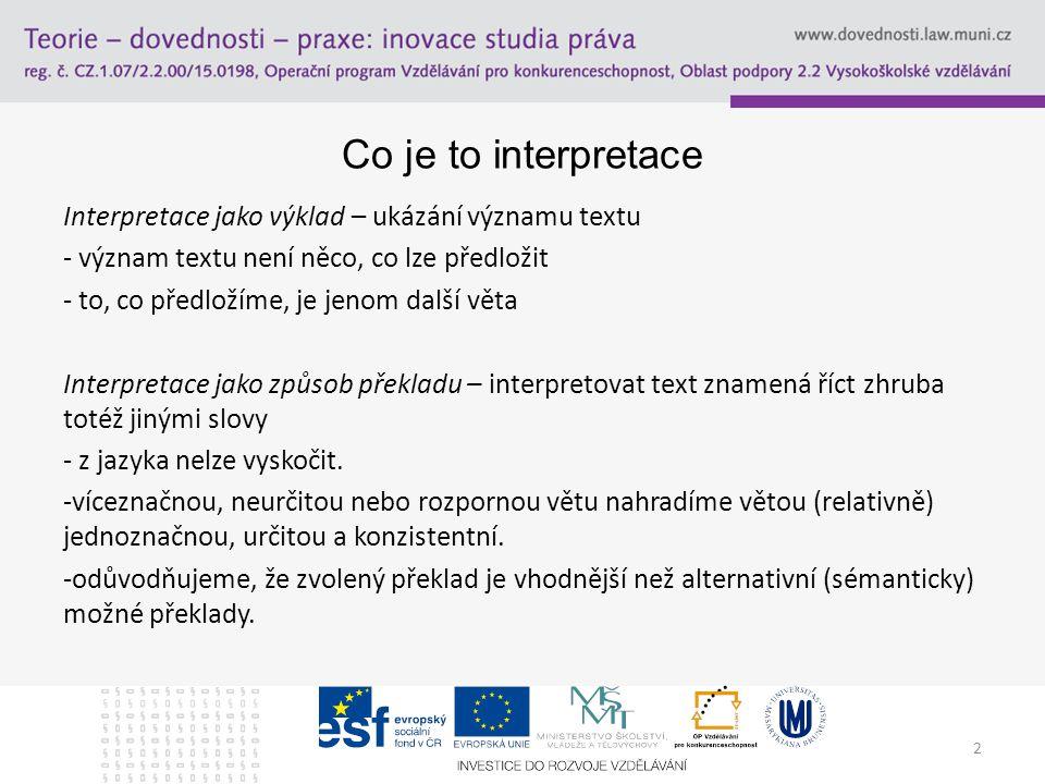Co je to interpretace Interpretace jako výklad – ukázání významu textu