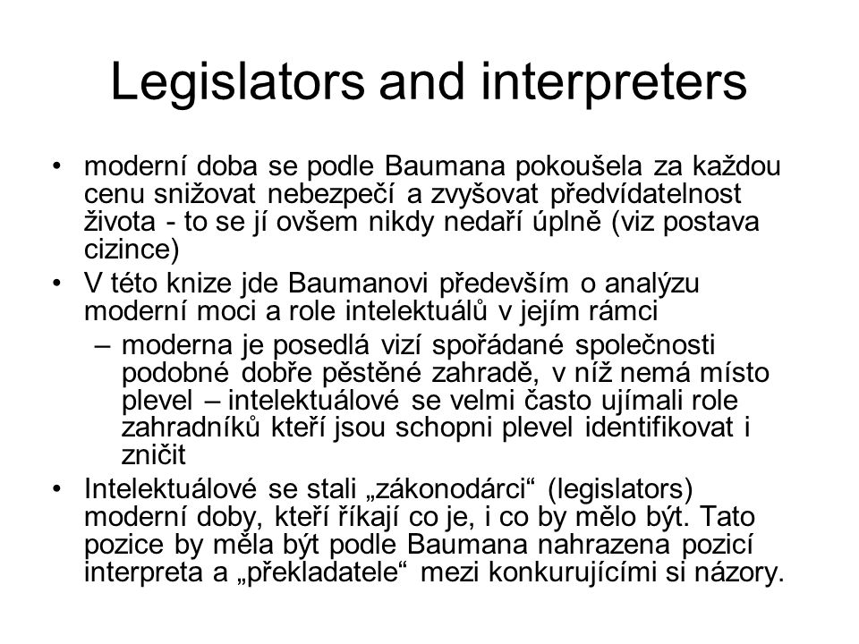Legislators and interpreters